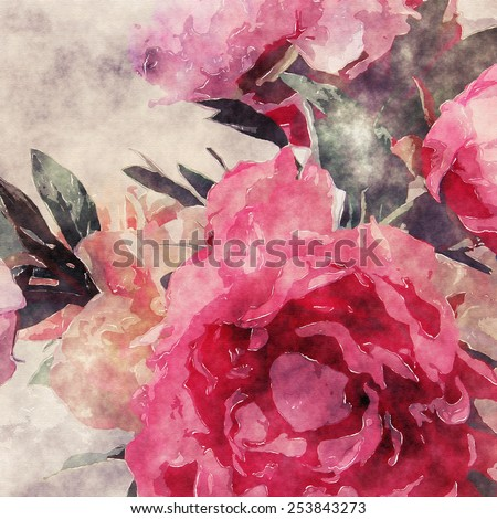 art grunge floral warm sepia vintage watercolor background with purple, tea and pink roses and peonies - stock photo