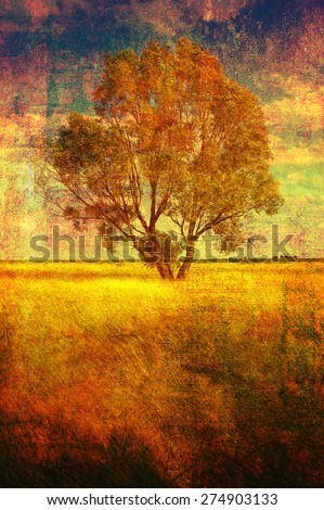 Art grunge landscape showing lonely tree on the meadow on sunny summer day. - stock photo