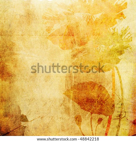 art grunge vintage background with silhouetting poppies and space for text - stock photo