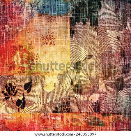 Art grunge vintage textured background. With different color patterns: red (orange); yellow (beige); blue; brown; purple (violet) - stock photo