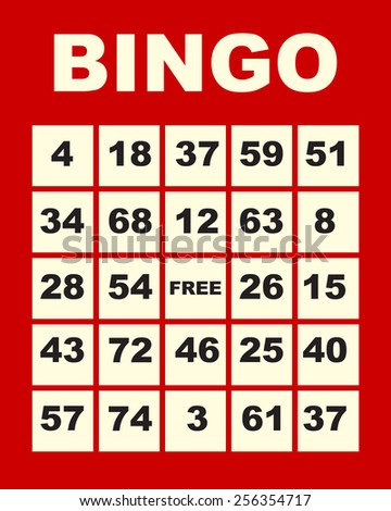 art illustration of one red bingo card - stock photo