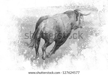 Art illustration, Spanish bull in the bullring with sand - stock photo