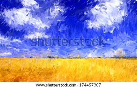 Art Impressionism technique oil painting on canvas - stock photo