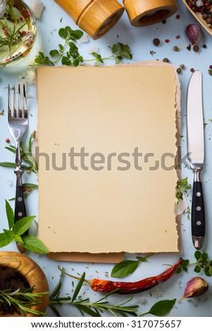 Art italian home cooking background; restaurant week - stock photo