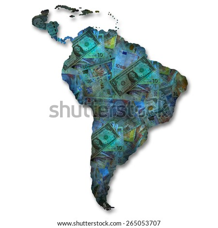 Art map - South America - stock photo