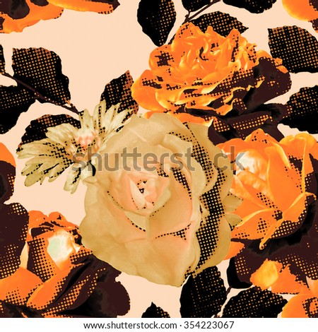 art monochrome vintage floral seamless pattern with orange and beige roses and asters on light background; halftone effect  - stock photo
