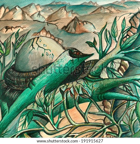 Art nature surreal. Hand acrylic color painting on paper. - stock photo