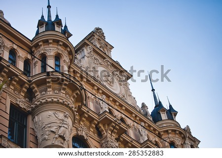 Art Nouveau building in Riga, Latvia. - stock photo