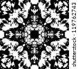 art nouveau colorful ornamental vintage pattern in black and white - stock photo