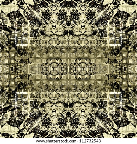 art nouveau colorful ornamental vintage pattern in black, beige and olive colors - stock photo