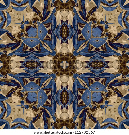art nouveau colorful ornamental vintage pattern in blue - stock photo