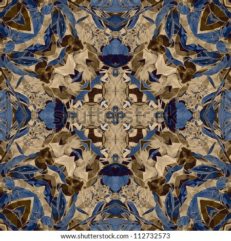 art nouveau colorful ornamental vintage pattern in blue, beige and brown colors - stock photo