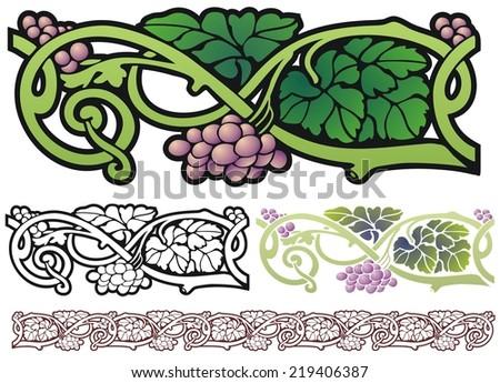 Art nouveau design element, grapes and vines - stock photo