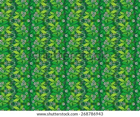 art nouveau design of green leaves and vines - stock photo