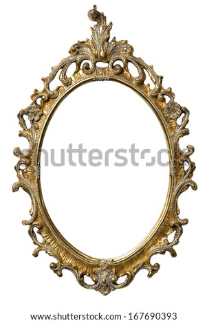 Art Nouveau gold Mirror Frame - stock photo