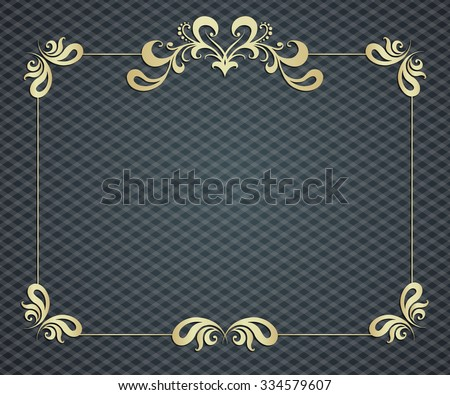 art nouveau golden frame with space for text. - stock photo