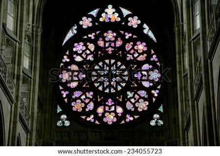Art Nouveau painter Alfons Mucha Stained Glass window in St. Vitus Cathedral, Prague, Czech Republic - stock photo