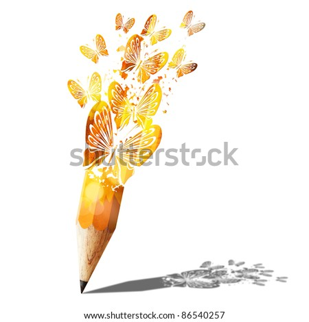 art of butterfly gold pencil isolated on white - stock photo