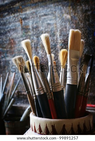 Art Paint Brushes - stock photo