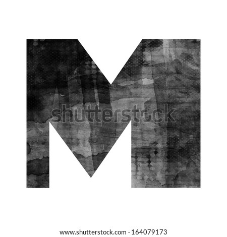 art painted blurred alphabet, black and grey font on white background, sign M - stock photo