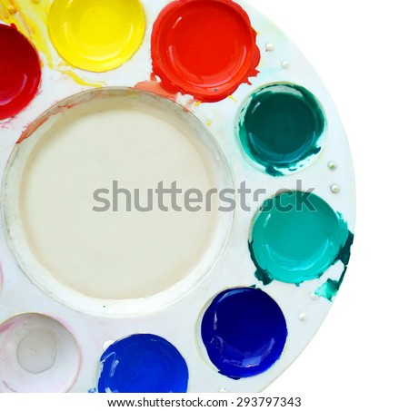 art palette with paint color isolated on white - stock photo