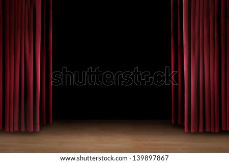 Art performance stage with red curtain and copy space - stock photo