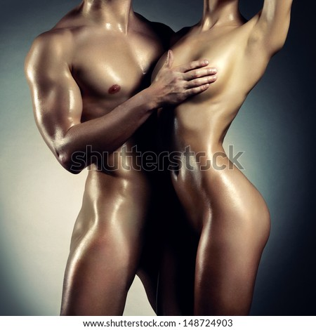 Art photo of nude sexy couple in the tender passion - stock photo