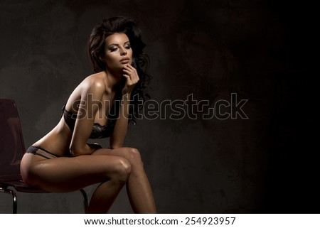 Art photo of young brunette  lady  - stock photo