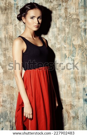 Art portrait of a beautiful young woman in Spanish style. Latin dances. - stock photo