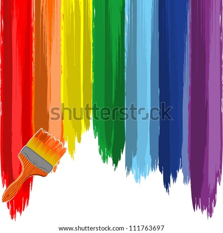 Art rainbow abstract background with brush 2 - stock photo