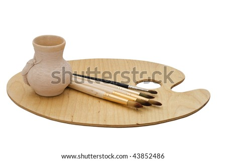 Art set: palette, brushes, pot - isolated - stock photo