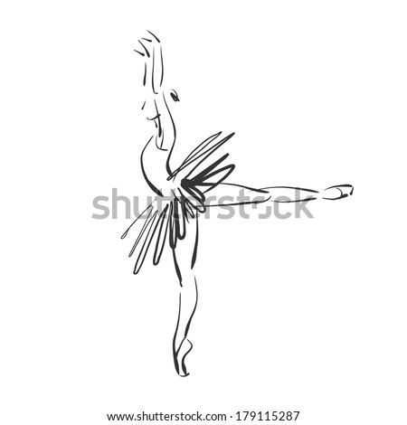 art sketched beautiful young ballerina in ballet pose. Vector version is also in my gallery. - stock photo