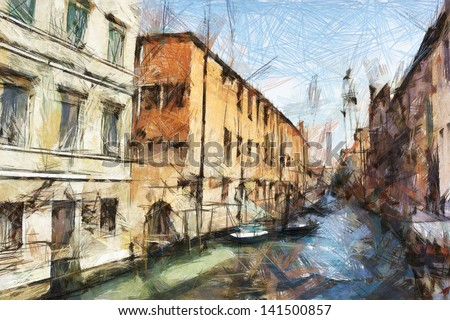 art sketching background with street in Venice, Italy - stock photo