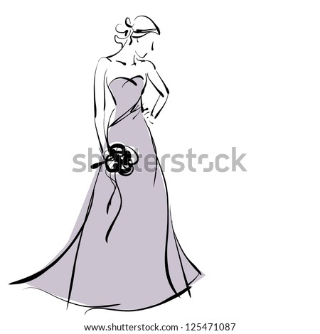 art sketching beautiful melancholy young  bride in violet dress with the bride's bouquet on white background. . Vector version is also in my gallery. - stock photo