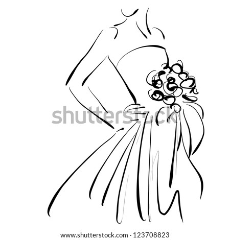 art sketching beautiful young  bride with the bride's bouquet. Vector version is also in my gallery. - stock photo
