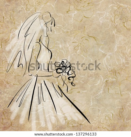 art sketching of beautiful melancholic young bride with the bride's bouquet and in white dress, on floral beige background - stock photo