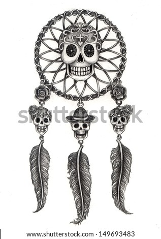 Art skull dream catcher day of the dead. Hand drawing on paper. - stock photo