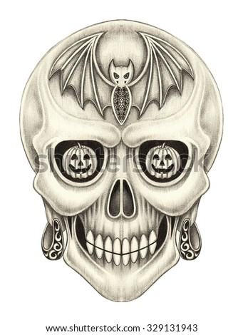 Art skull surreal Halloween day.Hand pencil drawing on paper. - stock photo