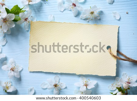 art Spring floral  background with white blossom - stock photo