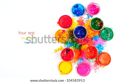 art studio paints on the white with paintings . copyspace - stock photo