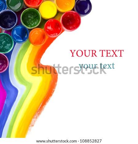 art studio paints, palette, rainbow - stock photo