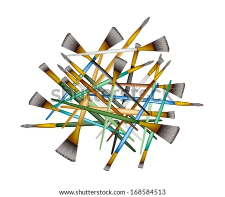 Art Supply, Stack of Craft Paintbrush or Artist Brushes in An Assortment Size for Draw and Paint A Picture.  - stock photo