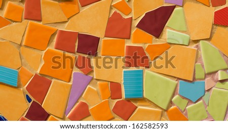 art tile wall made from crack tile - stock photo
