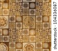art tiles seamless patterns, brown and beige background - stock photo