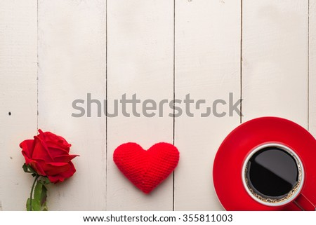 art valentines greeting card with red roses and heart isolated on white background. Copy space - stock photo