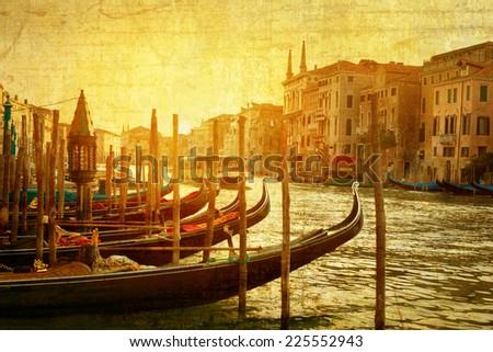 art Venice, Italy. Gondolas on Grand Canal, Italian Canal Grande - stock photo