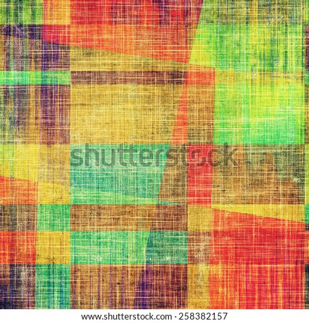 Art vintage background with space for text and different color patterns: yellow (beige); brown; red (orange); blue; green - stock photo