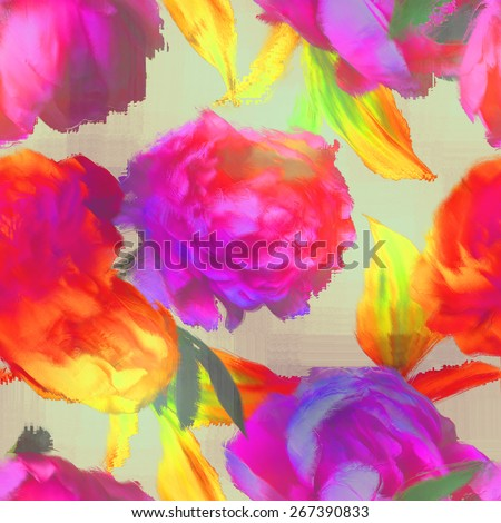 art vintage blur acrylic floral seamless pattern with red, orange, gold and fuchsia peonies on light background - stock photo