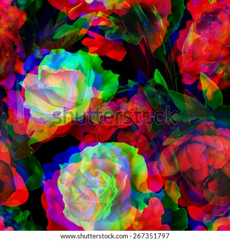 art vintage blur watercolor floral seamless pattern with white roses and red peonies on black background; Double Exposure effect - stock photo