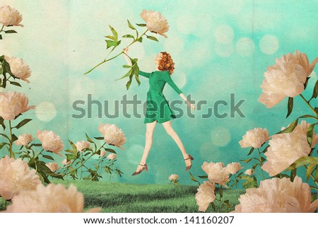 art vintage collage with beautiful woman, creative work - stock photo